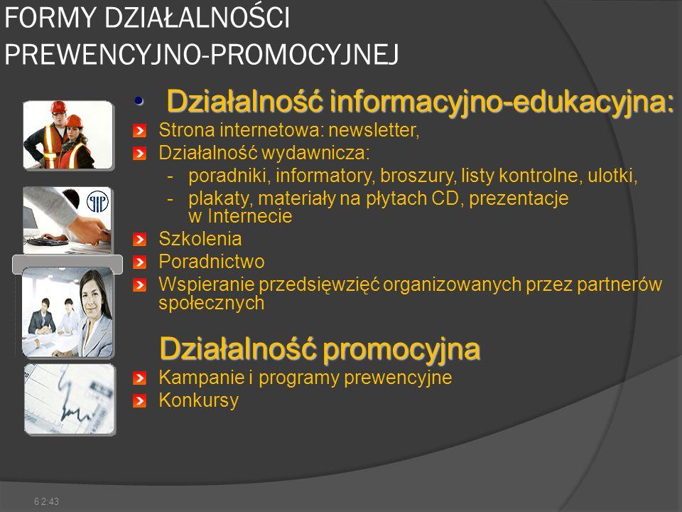 6 FORMY DZIAŁALNOŚCI PREWENCYJNO-PROMOCYJNEJ Działalność informacyjno-edukacyjna: Działalność informacyjno-edukacyjna: Strona internetowa: newsletter,