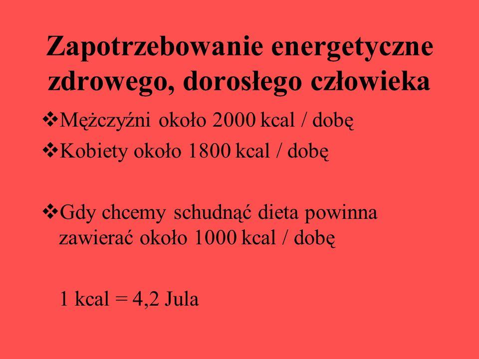 Zapotrzebowanie energetyczne zdrowego, dorosłego człowieka Mężczyźni około 2000 kcal / dobę Kobiety około 1800 kcal / dobę Gdy chcemy schudnąć dieta p