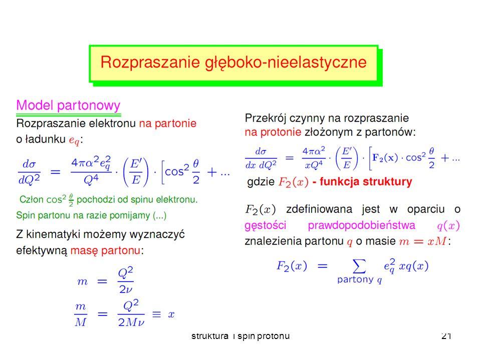 struktura i spin protonu20 Rozpraszanie elektronów na nukleonach E~5 – 20 GeV x F x F x F 1