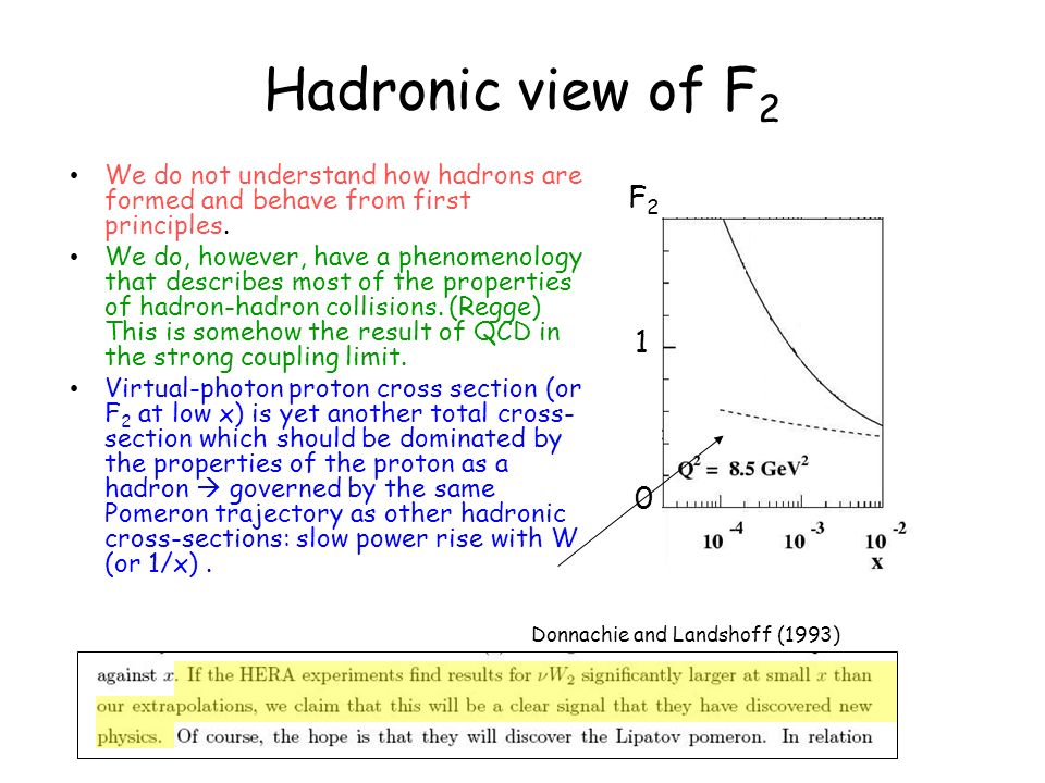 Hadronic view of F 2 We do not understand how hadrons are formed and behave from first principles. We do, however, have a phenomenology that describes