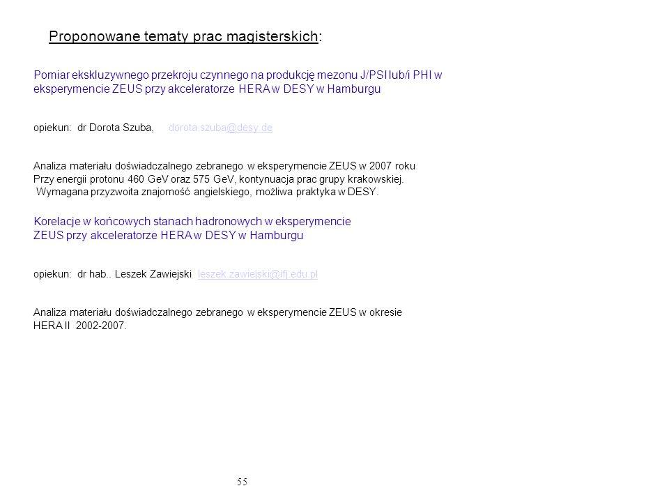55 Proponowane tematy prac magisterskich: Pomiar ekskluzywnego przekroju czynnego na produkcję mezonu J/PSI lub/i PHI w eksperymencie ZEUS przy akcele