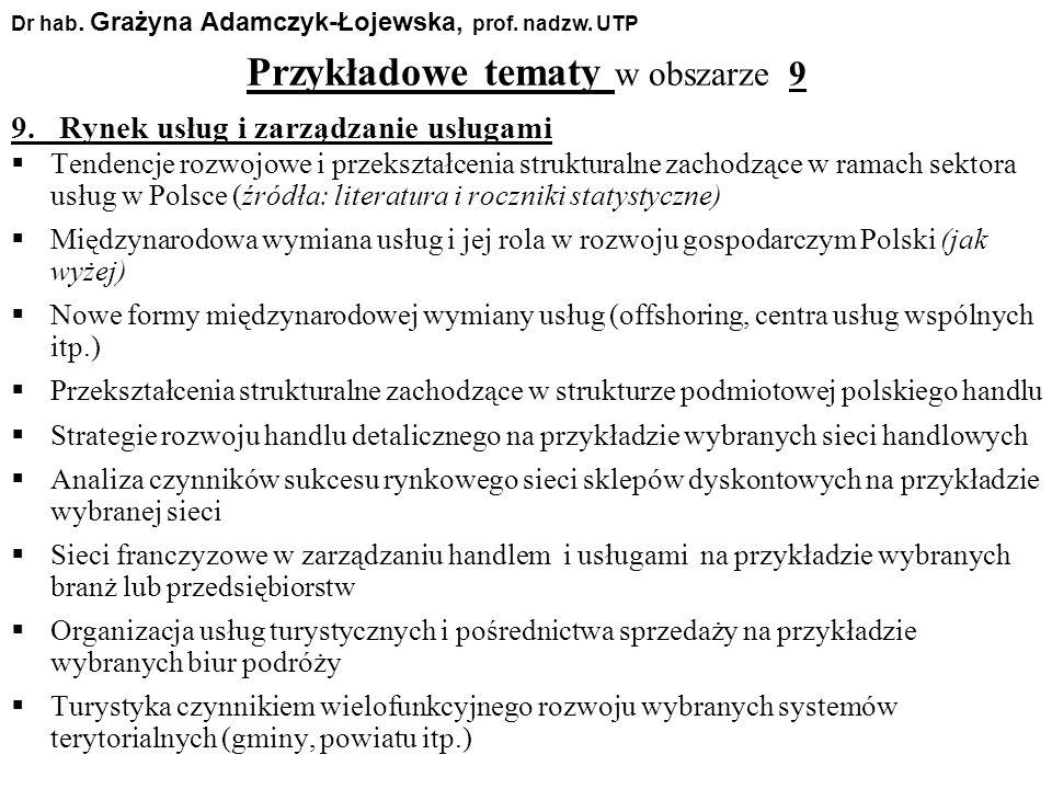 Przykładowe tematy w obszarze 9 Dr hab. Grażyna Adamczyk-Łojewska, prof. nadzw. UTP 9. Rynek usług i zarządzanie usługami Tendencje rozwojowe i przeks