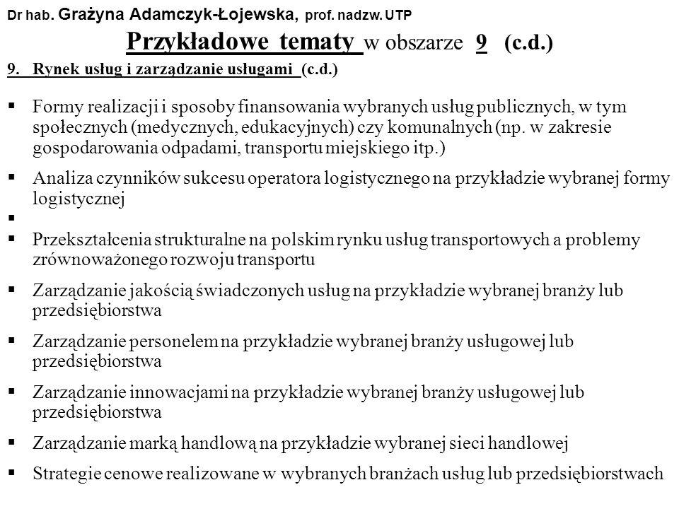 Przykładowe tematy w obszarze 9 (c.d.) Dr hab. Grażyna Adamczyk-Łojewska, prof. nadzw. UTP 9. Rynek usług i zarządzanie usługami (c.d.) Formy realizac