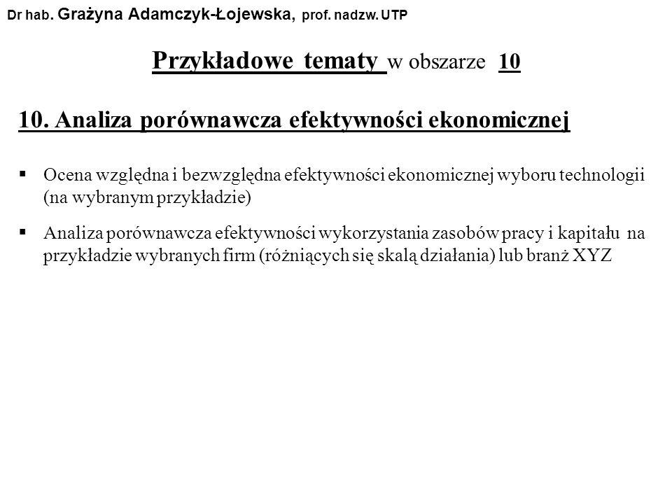 Przykładowe tematy w obszarze 10 Dr hab. Grażyna Adamczyk-Łojewska, prof. nadzw. UTP 10. Analiza porównawcza efektywności ekonomicznej Ocena względna