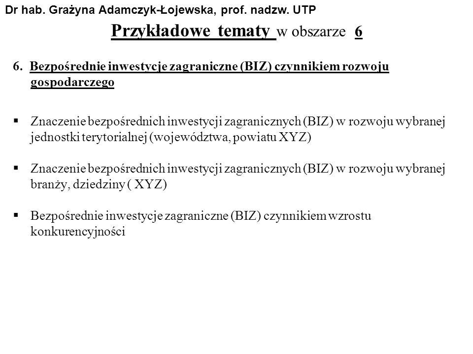 Przykładowe tematy w obszarze 6 6. Bezpośrednie inwestycje zagraniczne (BIZ) czynnikiem rozwoju gospodarczego Znaczenie bezpośrednich inwestycji zagra