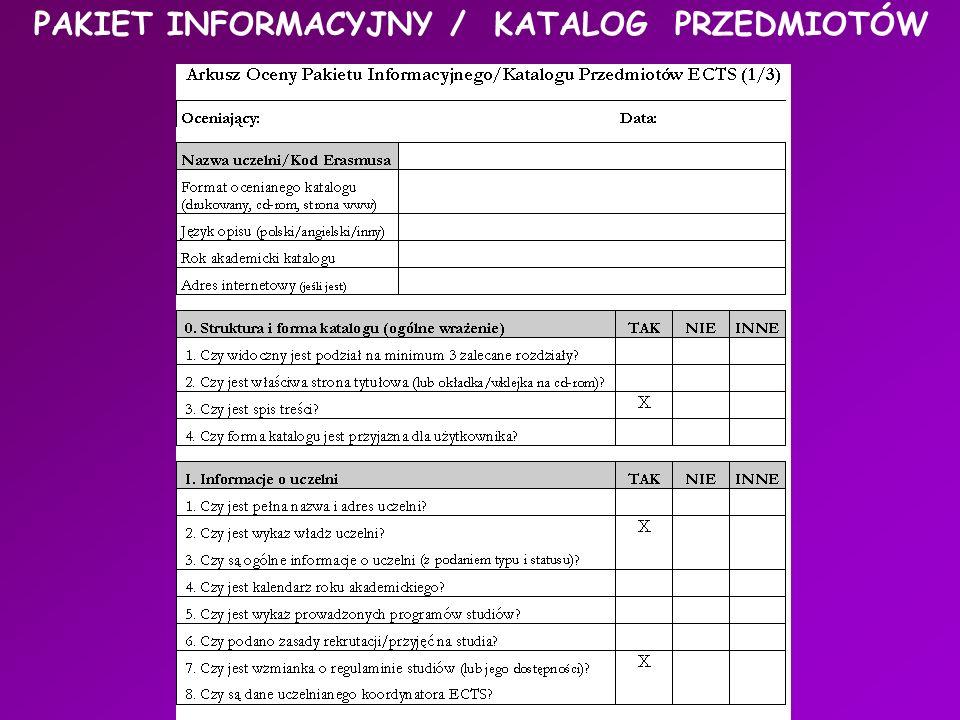 PAKIET INFORMACYJNY / KATALOG PRZEDMIOTÓW