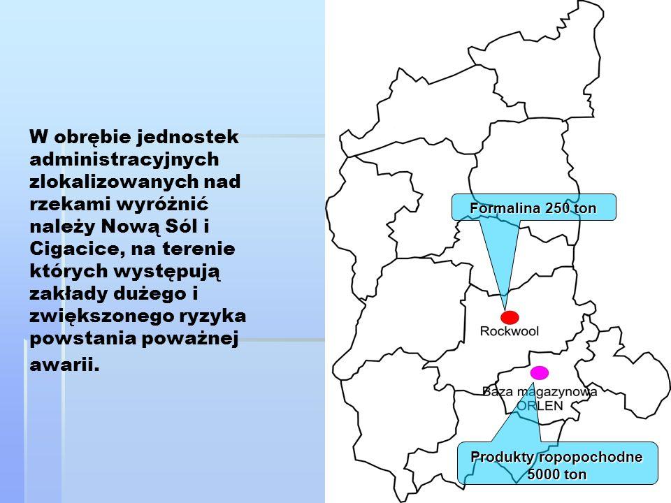 W obrębie jednostek administracyjnych zlokalizowanych nad rzekami wyróżnić należy Nową Sól i Cigacice, na terenie których występują zakłady dużego i z