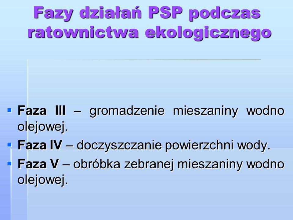 Fazy działań PSP podczas ratownictwa ekologicznego Faza III – gromadzenie mieszaniny wodno olejowej. Faza III – gromadzenie mieszaniny wodno olejowej.