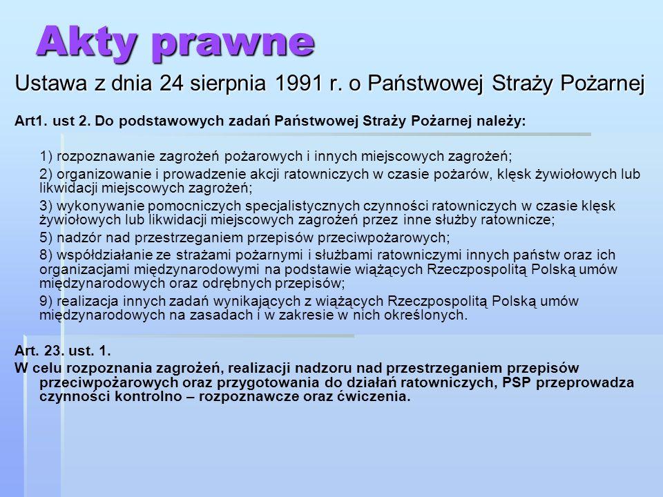 Akty prawne Ustawa z dnia 24 sierpnia 1991 r.o ochronie przeciwpożarowej Art.