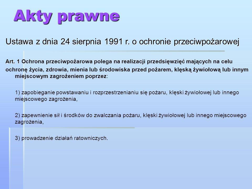Akty prawne Ustawa z dnia 24 sierpnia 1991 r. o ochronie przeciwpożarowej Art. 1 Art. 1 Ochrona przeciwpożarowa polega na realizacji przedsięwzięć maj