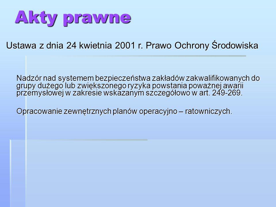 Akty prawne Ustawa z dnia 24 kwietnia 2001 r. Prawo Ochrony Środowiska Nadzór nad systemem bezpieczeństwa zakładów zakwalifikowanych do grupy dużego l