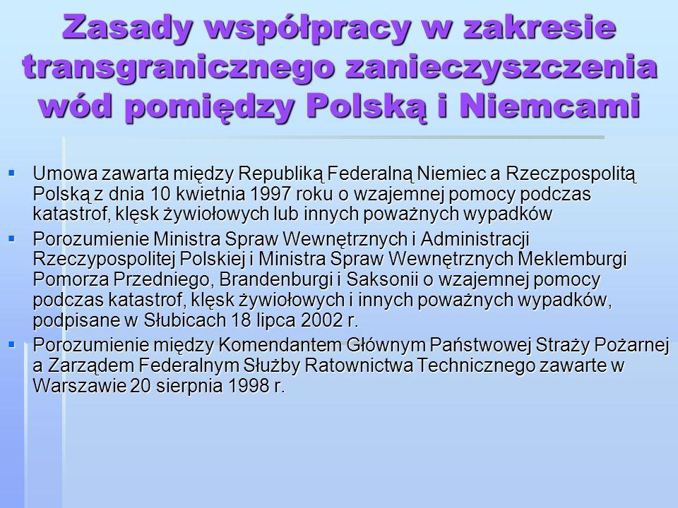 Zasady współpracy w zakresie transgranicznego zanieczyszczenia wód pomiędzy Polską i Niemcami Umowa zawarta między Republiką Federalną Niemiec a Rzecz