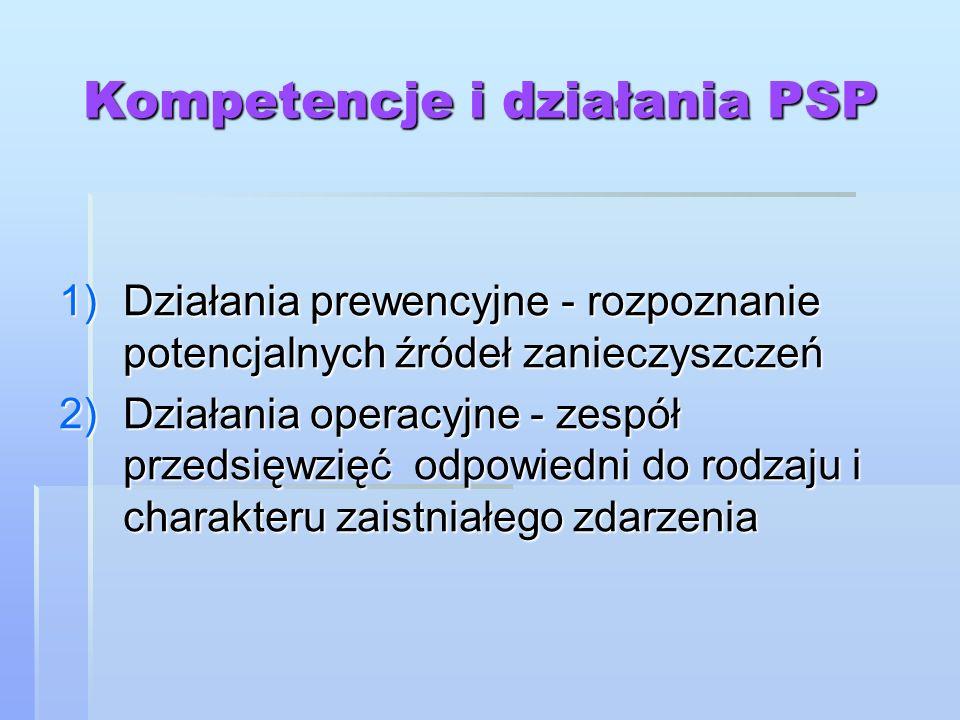 Kompetencje i działania PSP 1)Działania prewencyjne - rozpoznanie potencjalnych źródeł zanieczyszczeń 2)Działania operacyjne - zespół przedsięwzięć od