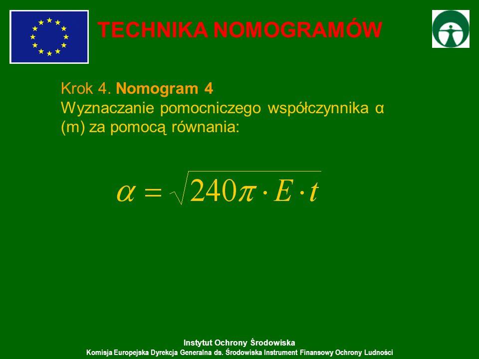 Instytut Ochrony Środowiska Komisja Europejska Dyrekcja Generalna ds. Środowiska Instrument Finansowy Ochrony Ludności TECHNIKA NOMOGRAMÓW Krok 4. Nom
