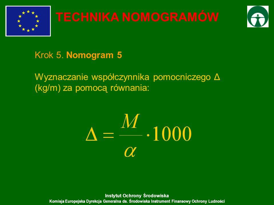 Instytut Ochrony Środowiska Komisja Europejska Dyrekcja Generalna ds. Środowiska Instrument Finansowy Ochrony Ludności TECHNIKA NOMOGRAMÓW Krok 5. Nom