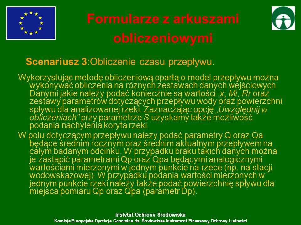 Instytut Ochrony Środowiska Komisja Europejska Dyrekcja Generalna ds. Środowiska Instrument Finansowy Ochrony Ludności Wykorzystując metodę obliczenio