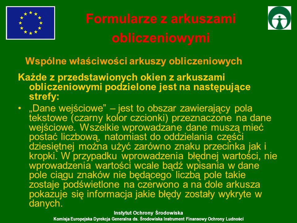 Instytut Ochrony Środowiska Komisja Europejska Dyrekcja Generalna ds. Środowiska Instrument Finansowy Ochrony Ludności Każde z przedstawionych okien z