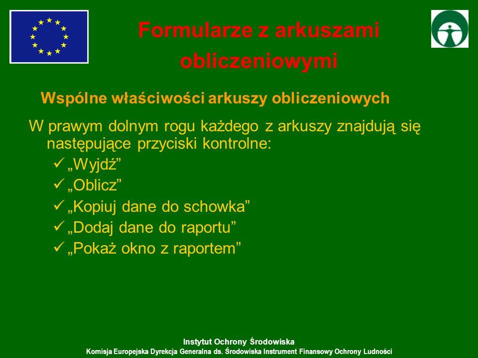 Instytut Ochrony Środowiska Komisja Europejska Dyrekcja Generalna ds. Środowiska Instrument Finansowy Ochrony Ludności W prawym dolnym rogu każdego z