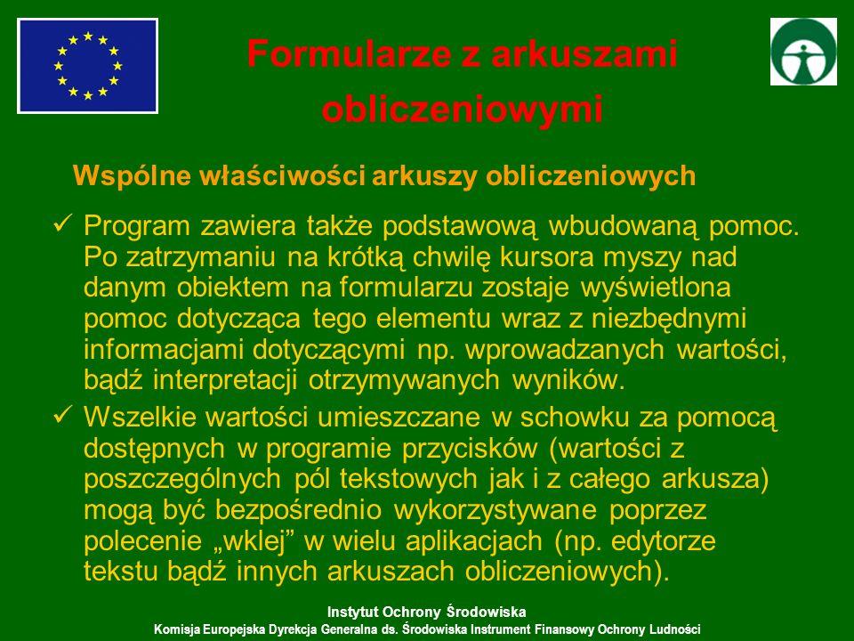 Instytut Ochrony Środowiska Komisja Europejska Dyrekcja Generalna ds. Środowiska Instrument Finansowy Ochrony Ludności Program zawiera także podstawow