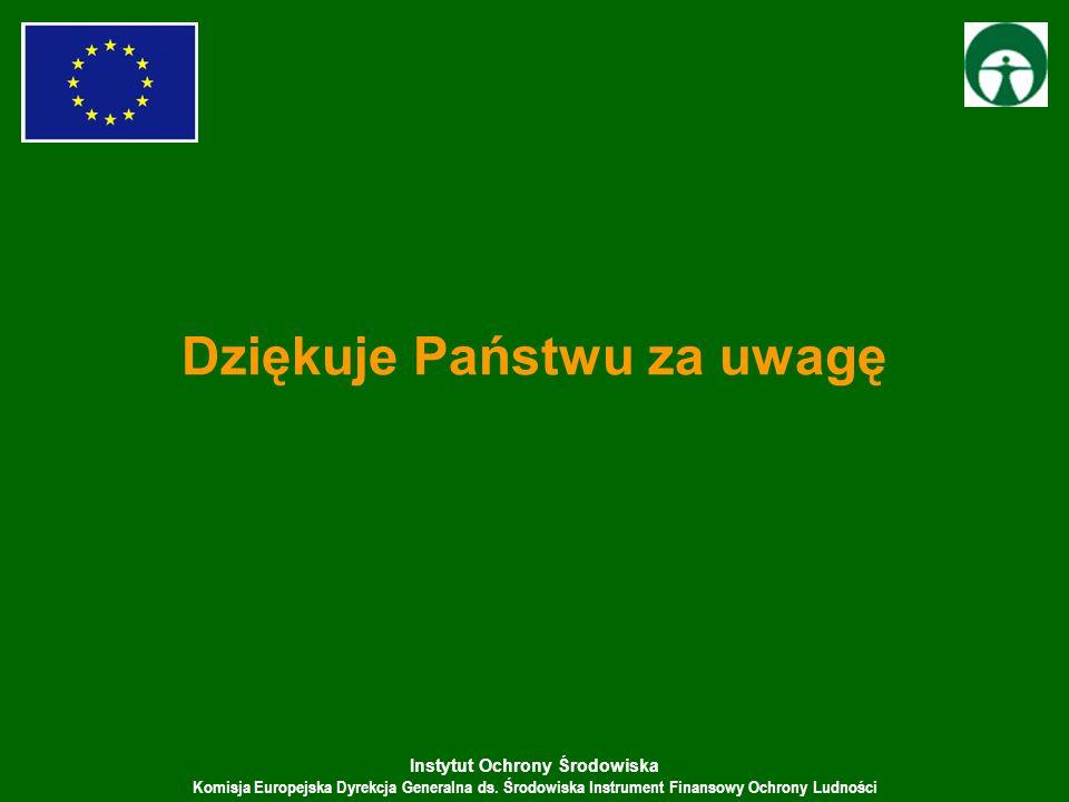 Instytut Ochrony Środowiska Komisja Europejska Dyrekcja Generalna ds. Środowiska Instrument Finansowy Ochrony Ludności Dziękuje Państwu za uwagę