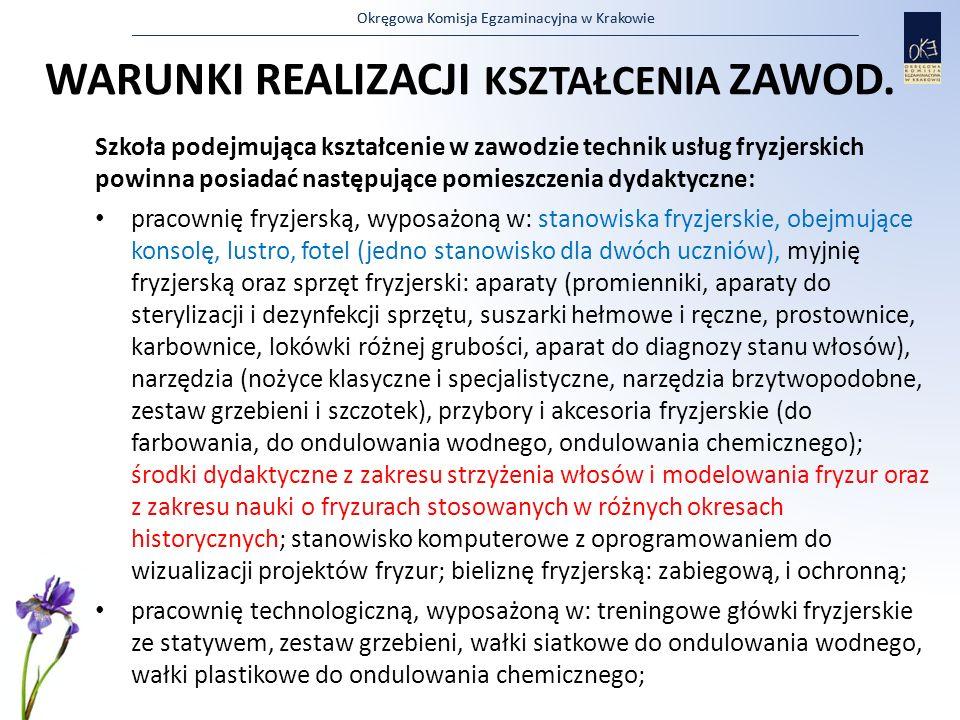 Okręgowa Komisja Egzaminacyjna w Krakowie WARUNKI REALIZACJI KSZTAŁCENIA ZAWOD. Szkoła podejmująca kształcenie w zawodzie technik usług fryzjerskich p