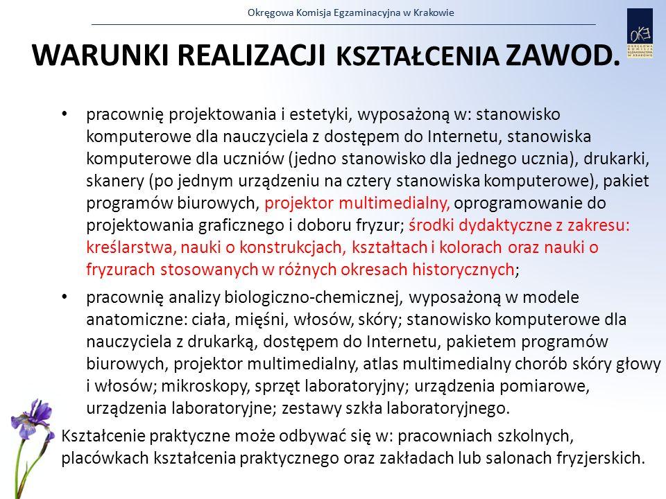 Okręgowa Komisja Egzaminacyjna w Krakowie WARUNKI REALIZACJI KSZTAŁCENIA ZAWOD. pracownię projektowania i estetyki, wyposażoną w: stanowisko komputero