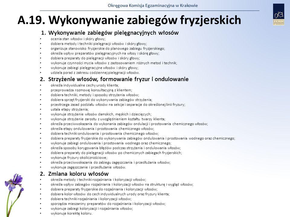 Okręgowa Komisja Egzaminacyjna w Krakowie A.19. Wykonywanie zabiegów fryzjerskich 1.Wykonywanie zabiegów pielęgnacyjnych włosów ocenia stan włosów i s