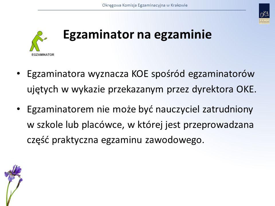 Okręgowa Komisja Egzaminacyjna w Krakowie Egzaminator na egzaminie Egzaminatora wyznacza KOE spośród egzaminatorów ujętych w wykazie przekazanym przez