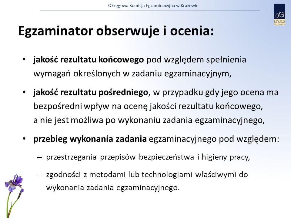 Okręgowa Komisja Egzaminacyjna w Krakowie Egzaminator obserwuje i ocenia: jakość rezultatu końcowego pod względem spełnienia wymagań określonych w zad