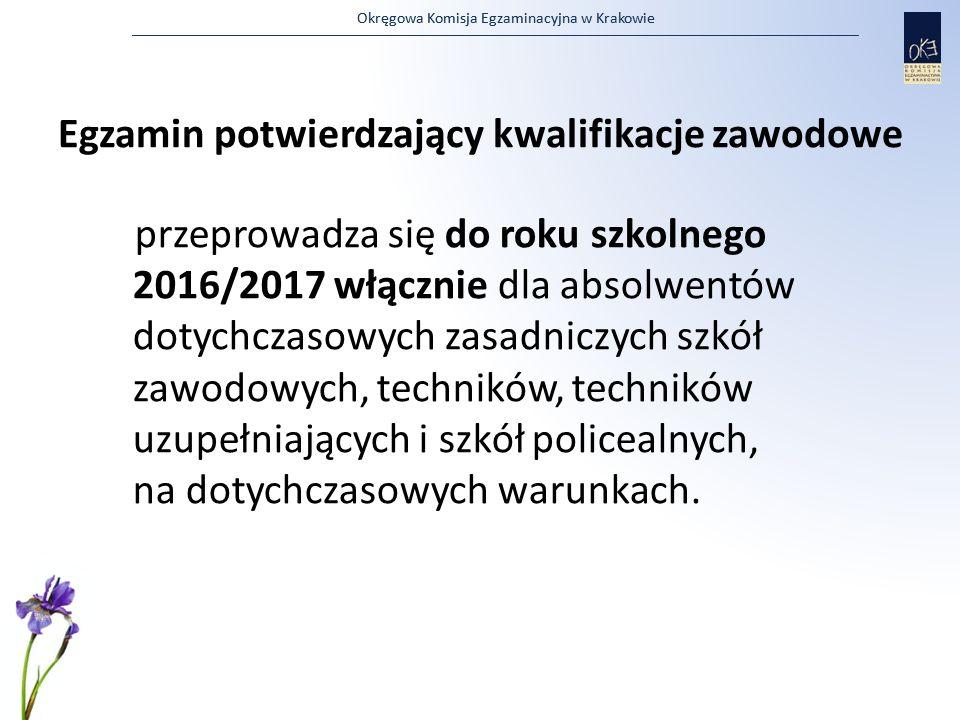 Okręgowa Komisja Egzaminacyjna w Krakowie Egzamin potwierdzający kwalifikacje zawodowe przeprowadza się do roku szkolnego 2016/2017 włącznie dla absol