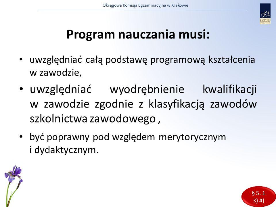 Okręgowa Komisja Egzaminacyjna w Krakowie Program nauczania musi: uwzględniać całą podstawę programową kształcenia w zawodzie, uwzględniać wyodrębnien