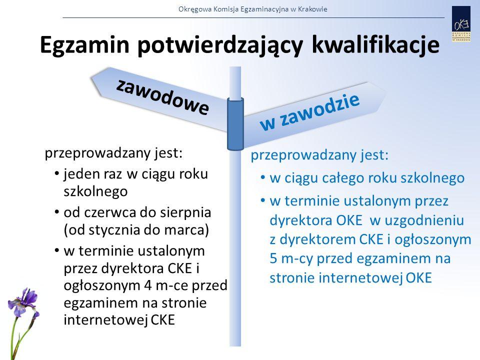 Okręgowa Komisja Egzaminacyjna w Krakowie przeprowadzany jest: jeden raz w ciągu roku szkolnego od czerwca do sierpnia (od stycznia do marca) w termin