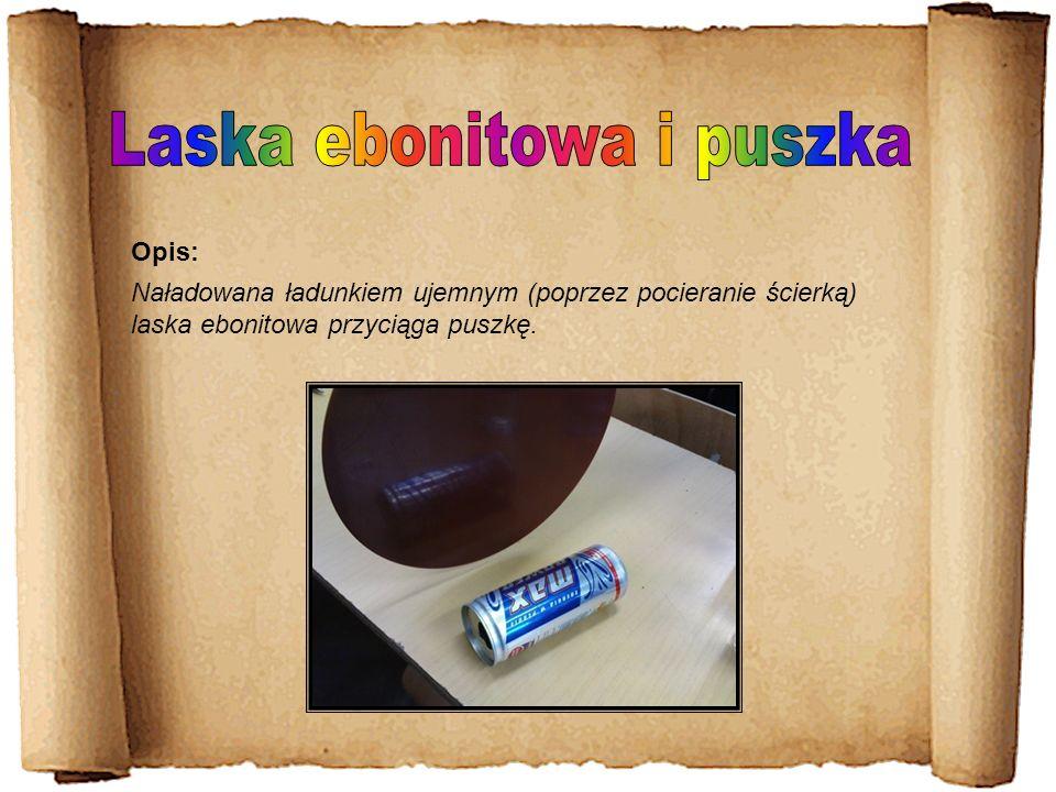 Naładowana ładunkiem ujemnym (poprzez pocieranie ścierką) laska ebonitowa przyciąga puszkę. Opis: