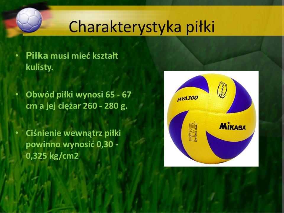 Charakterystyka piłki Piłka musi mieć kształt kulisty. Obwód piłki wynosi 65 - 67 cm a jej ciężar 260 - 280 g. Ciśnienie wewnątrz piłki powinno wynosi