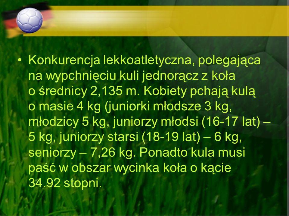 Konkurencja lekkoatletyczna, polegająca na wypchnięciu kuli jednorącz z koła o średnicy 2,135 m. Kobiety pchają kulą o masie 4 kg (juniorki młodsze 3