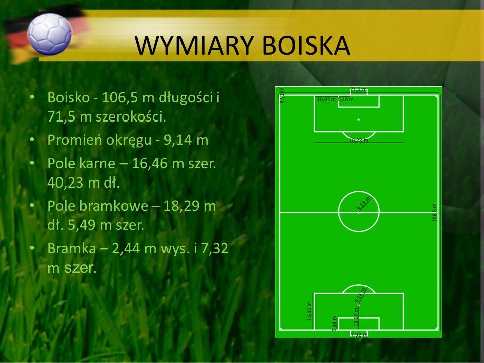 WYMIARY BOISKA Boisko - 106,5 m długości i 71,5 m szerokości. Promień okręgu - 9,14 m Pole karne – 16,46 m szer. 40,23 m dł. Pole bramkowe – 18,29 m d