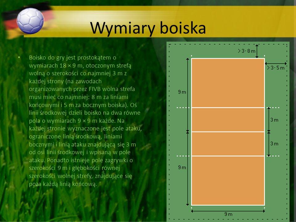Wymiary boiska Boisko do gry jest prostokątem o wymiarach 18 × 9 m, otoczonym strefą wolną o szerokości co najmniej 3 m z każdej strony (na zawodach organizowanych przez FIVB wolna strefa musi mieć co najmniej: 8 m za liniami końcowymi i 5 m za bocznym boiska).