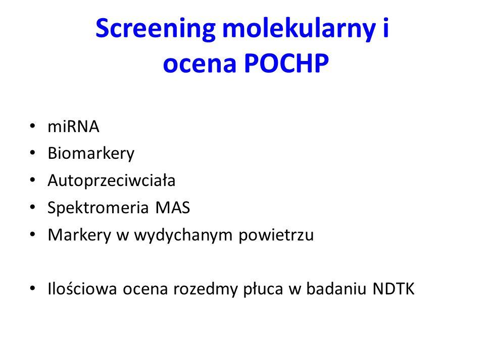 Screening molekularny i ocena POCHP miRNA Biomarkery Autoprzeciwciała Spektromeria MAS Markery w wydychanym powietrzu Ilościowa ocena rozedmy płuca w