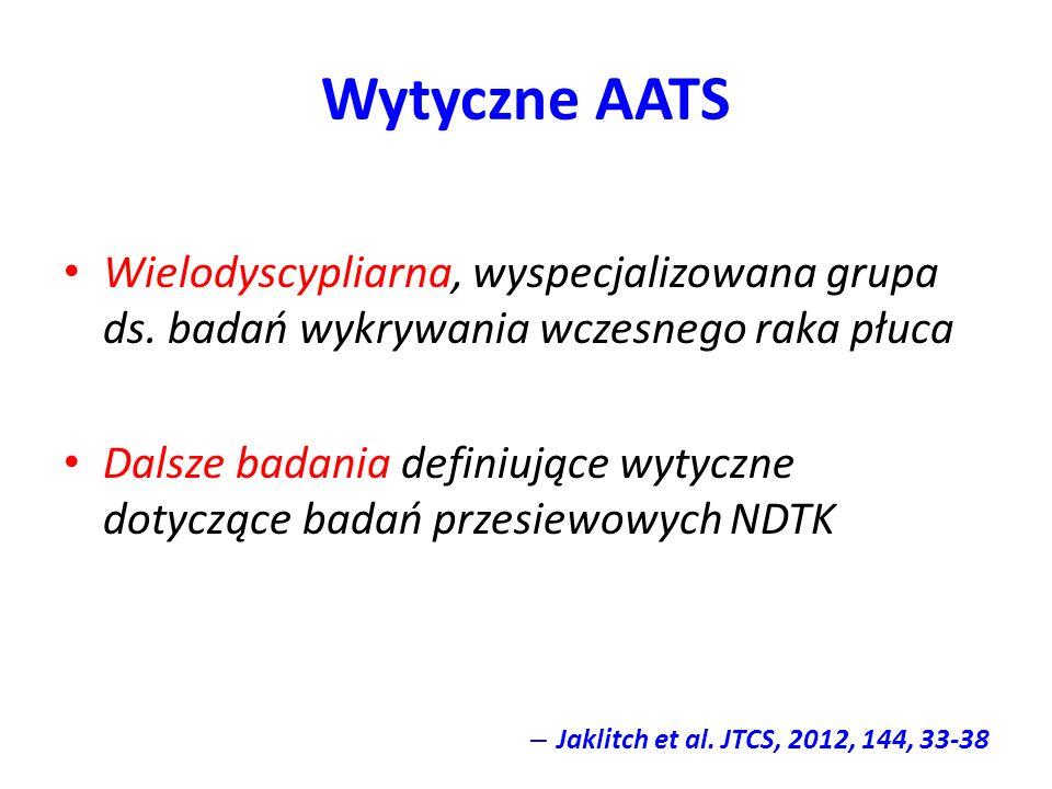 Wytyczne AATS Wielodyscypliarna, wyspecjalizowana grupa ds. badań wykrywania wczesnego raka płuca Dalsze badania definiujące wytyczne dotyczące badań