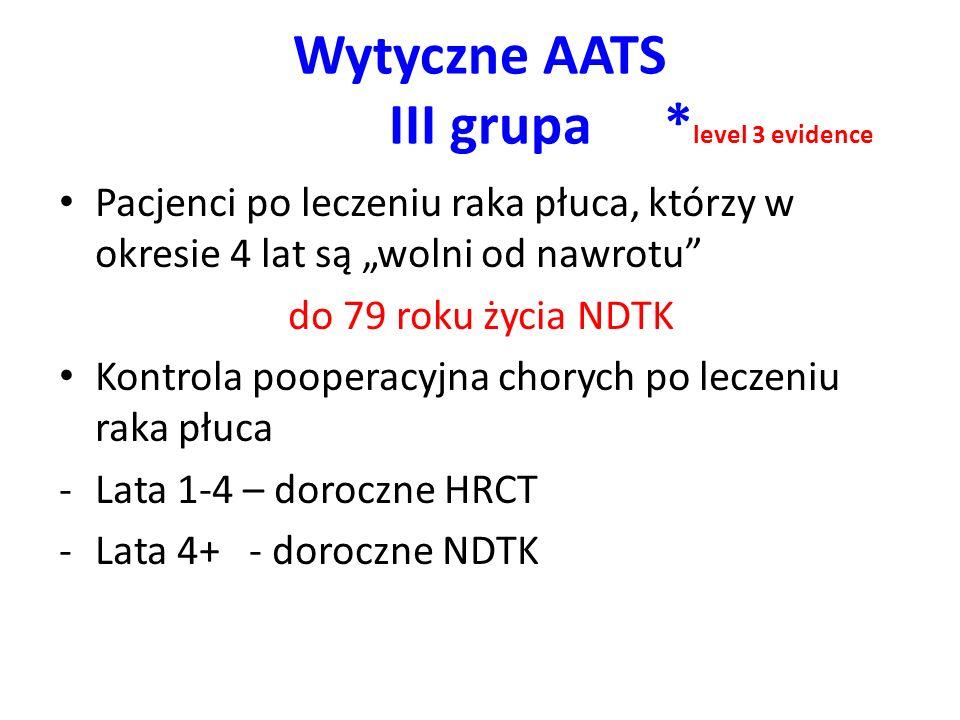 Wytyczne AATS III grupa * level 3 evidence Pacjenci po leczeniu raka płuca, którzy w okresie 4 lat są wolni od nawrotu do 79 roku życia NDTK Kontrola