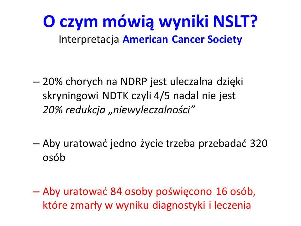 O czym mówią wyniki NSLT? Interpretacja American Cancer Society – 20% chorych na NDRP jest uleczalna dzięki skryningowi NDTK czyli 4/5 nadal nie jest
