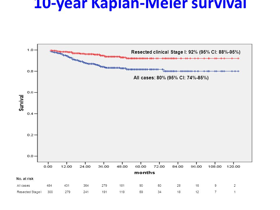 10-year Kaplan-Meier survival Henschke i wsp. NEJM 2006 All cases 484 431 354 279 181 90 50 28 16 9 2 Resected Stage I 300 279 241 191 119 59 34 18 12