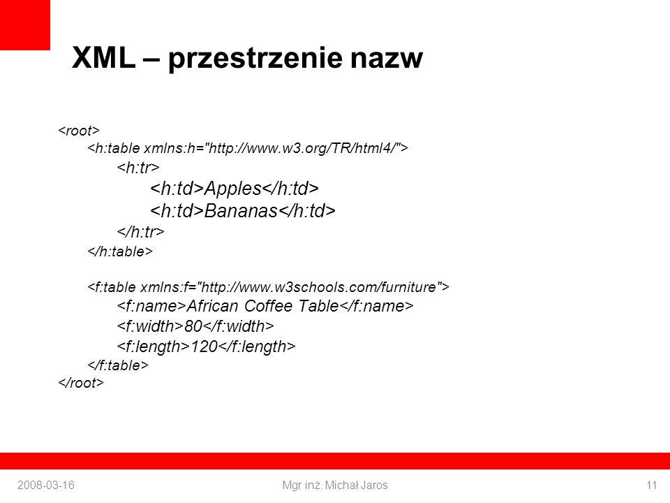 XML – przestrzenie nazw Apples Bananas African Coffee Table 80 120 2008-03-16Mgr inż.