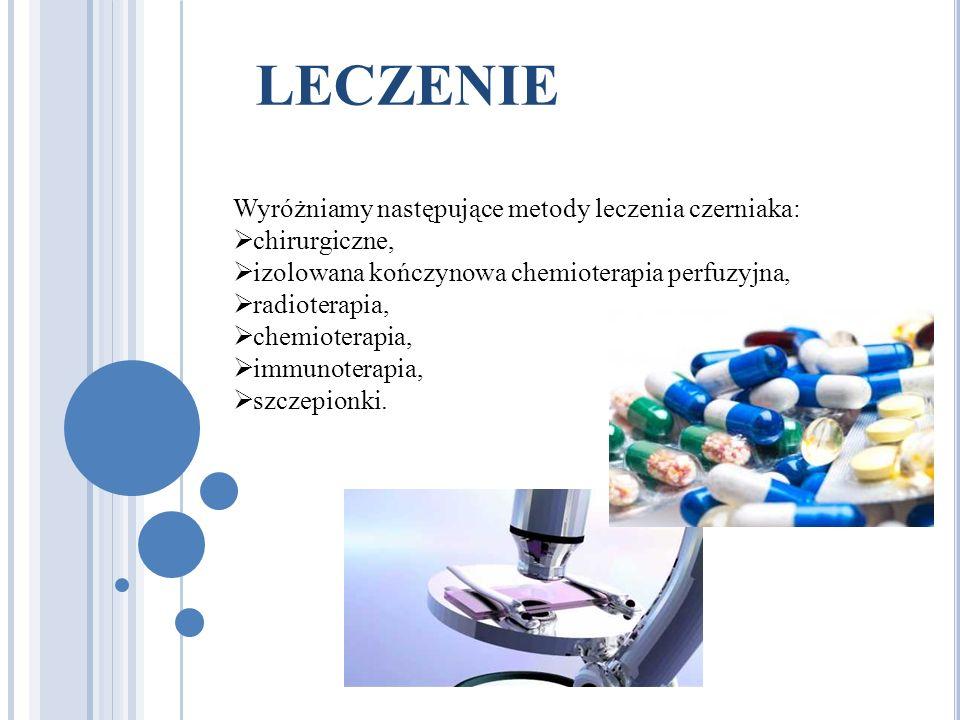LECZENIE Wyróżniamy następujące metody leczenia czerniaka: chirurgiczne, izolowana kończynowa chemioterapia perfuzyjna, radioterapia, chemioterapia, immunoterapia, szczepionki.