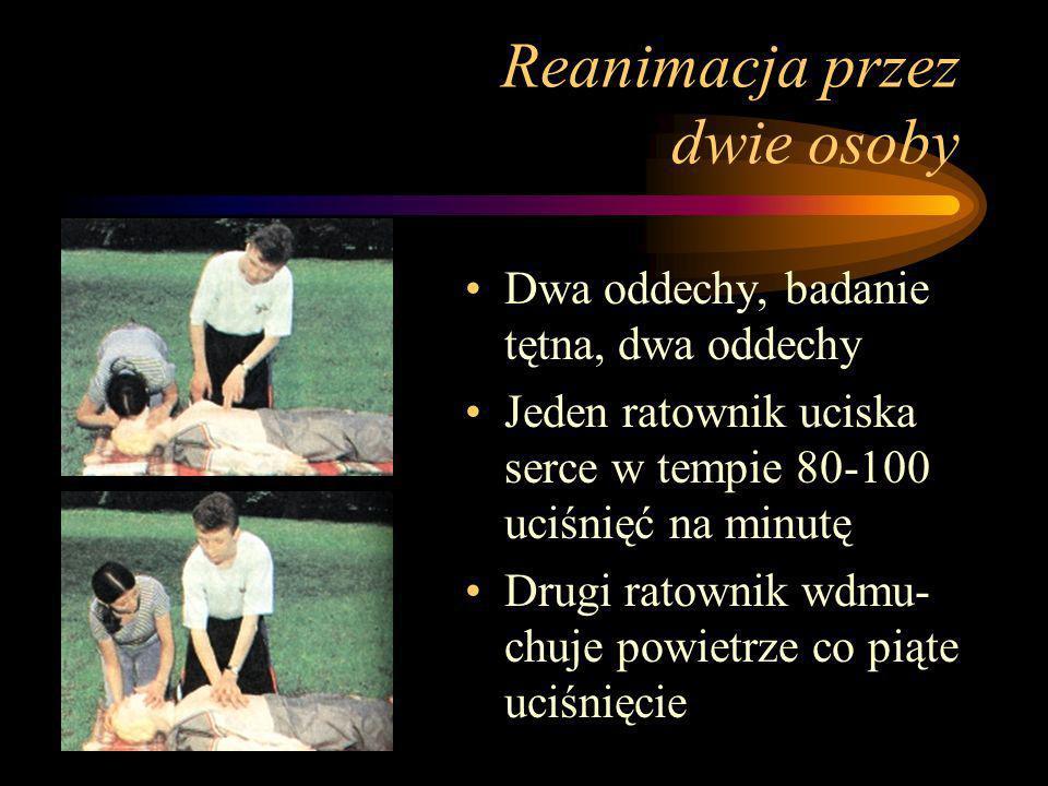 Reanimacja przez jedną osobę Wykonanie dwóch oddechów, sprawdzenie tętna i wykonanie dwóch kolejnych oddechów Wykonanie cykliczne-15 uciśnięć mostka i