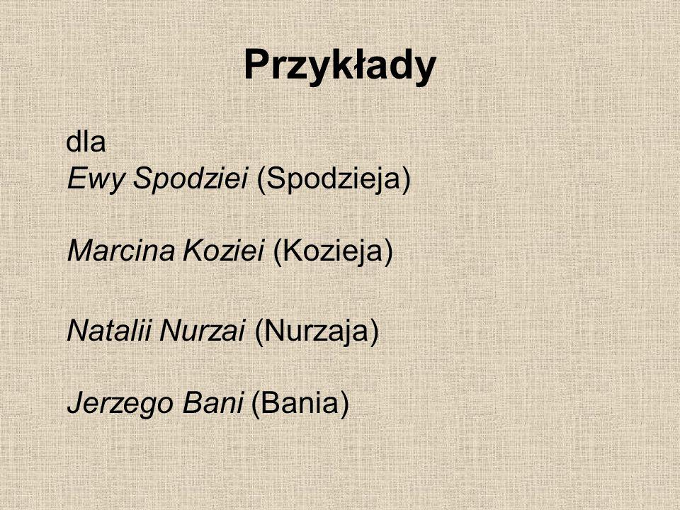 Przykłady dla Ewy Spodziei (Spodzieja) Marcina Koziei (Kozieja) Natalii Nurzai (Nurzaja) Jerzego Bani (Bania)