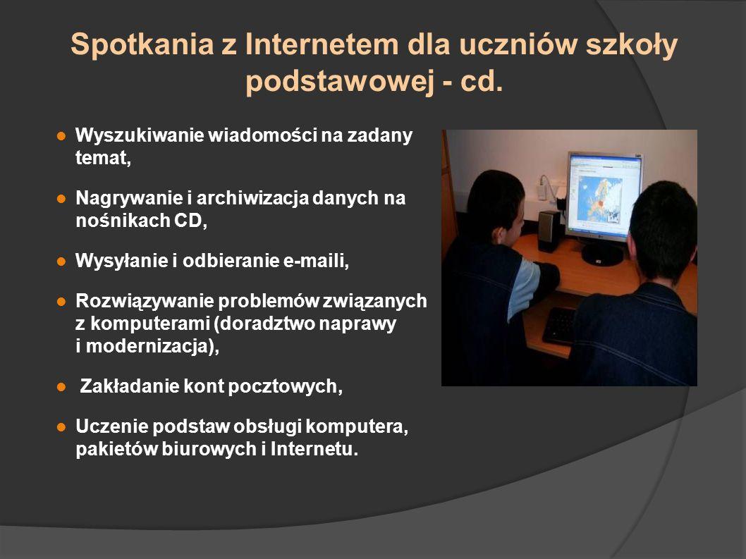 Spotkania z Internetem dla uczniów szkoły podstawowej - cd. Wyszukiwanie wiadomości na zadany temat, Nagrywanie i archiwizacja danych na nośnikach CD,