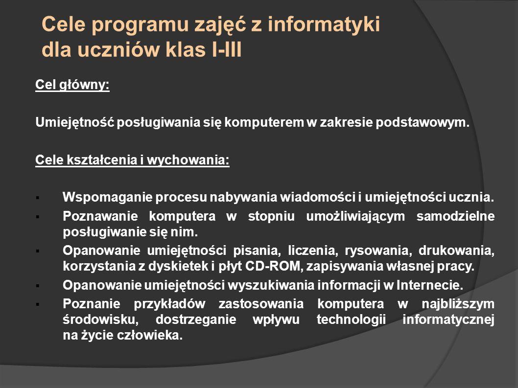 Cele programu zajęć z informatyki dla uczniów klas I-III Cel główny: Umiejętność posługiwania się komputerem w zakresie podstawowym. Cele kształcenia