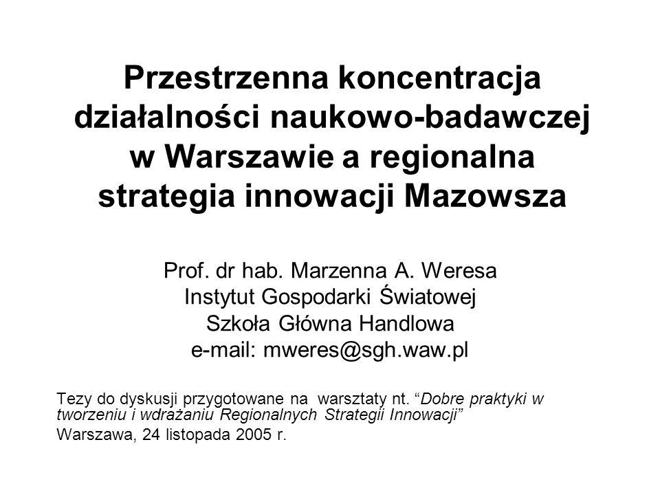 Przestrzenna koncentracja działalności naukowo-badawczej w Warszawie a regionalna strategia innowacji Mazowsza Prof.