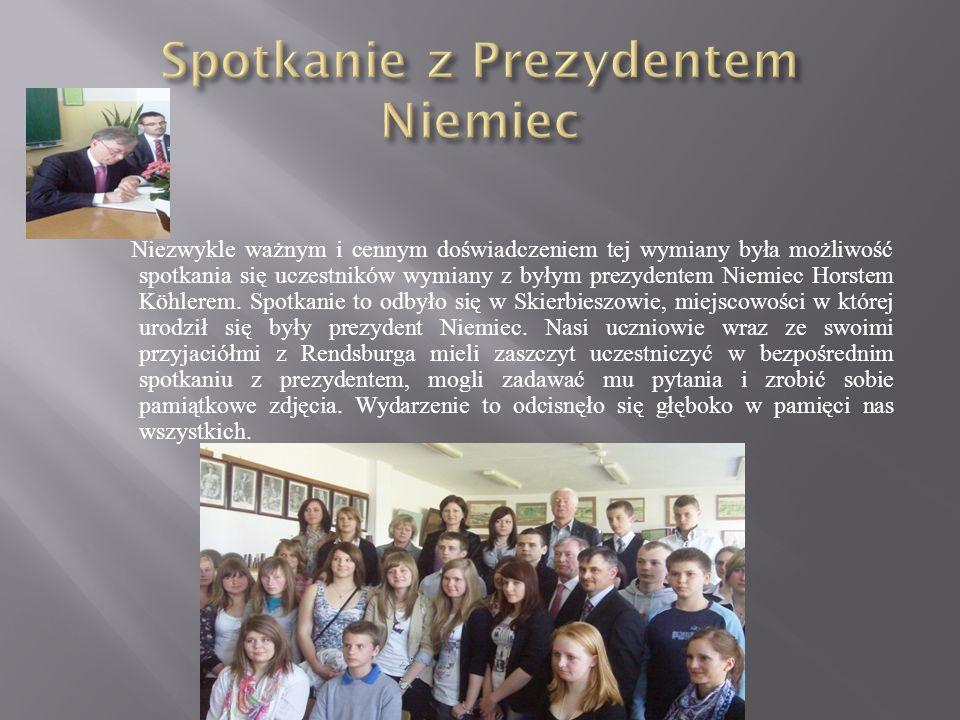 Niezwykle ważnym i cennym doświadczeniem tej wymiany była możliwość spotkania się uczestników wymiany z byłym prezydentem Niemiec Horstem Köhlerem. Sp